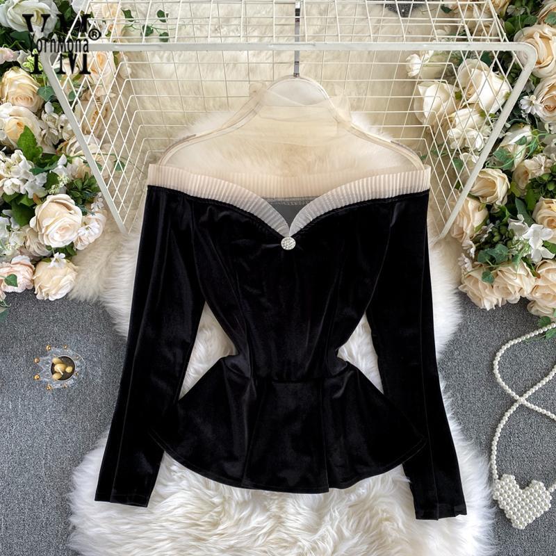 Tops YornMona Ins Moda Vintage gótico de terciopelo camisa de la blusa de malla nuevo otoño remiendo del hombro del partido Negro señoras de la blusa