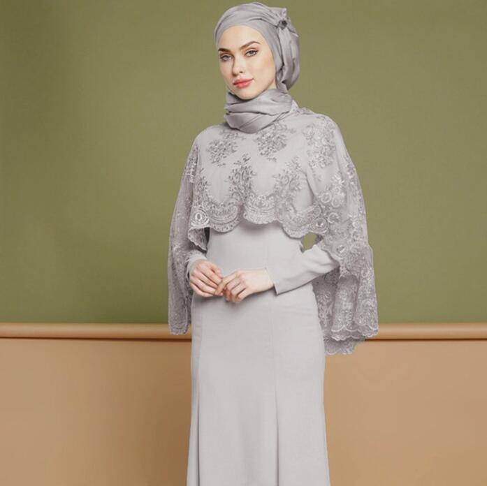 Partito musulmano vestito fatto su misura maniche lunghe in due pezzi ricamato Prom abito Piano Lunghezza abito da sera Eid al-Fitr Robes