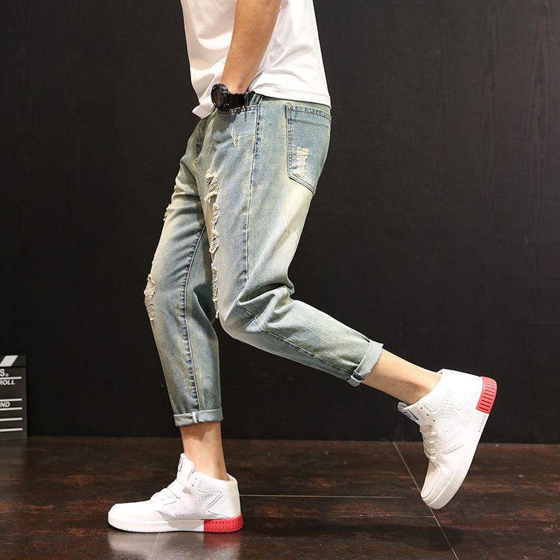 Marca Moda Hombres Primavera Verano Nuevos Jeans Masculino Slim Fit Zipper Casual Denim Pantalones Colapso Pantalones Hip Hop