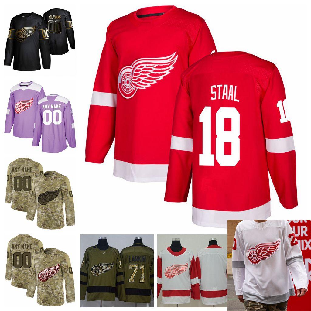 2021 обратный ретро настроить # 18 MARC Staal Detroit красные крылья Детские трикотажные изделия Золотое издание Camo ветеранов день борется с раком хоккейные изделия