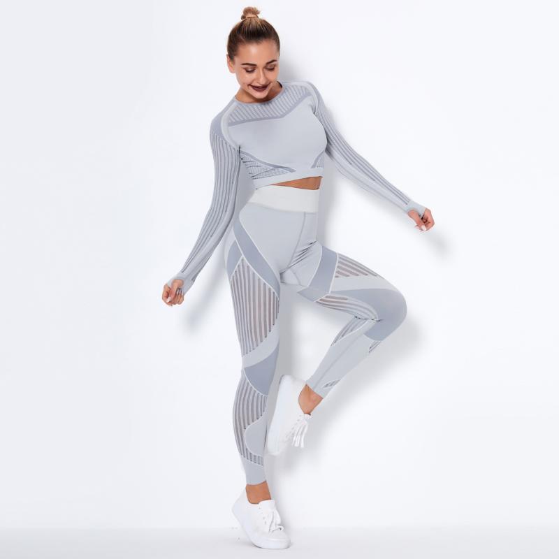 CrWleisure Mesh Yoga Set Set Seamless Sports Suit Donna Abbigliamento da donna Abbigliamento a maniche lunghe Push up Sportswear Works Gym Leggings