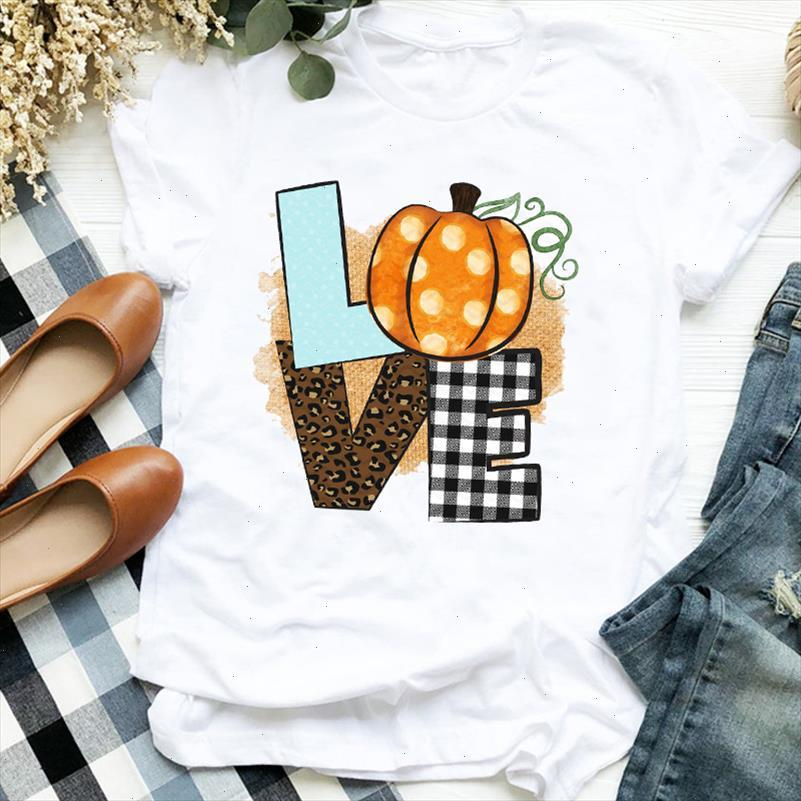 Women Lady Love Pumpkin 90s Style Halloween Thanksgiving Print Womens Clothes Shirt T Tee for Tshirt Female Top Graphic T shirt