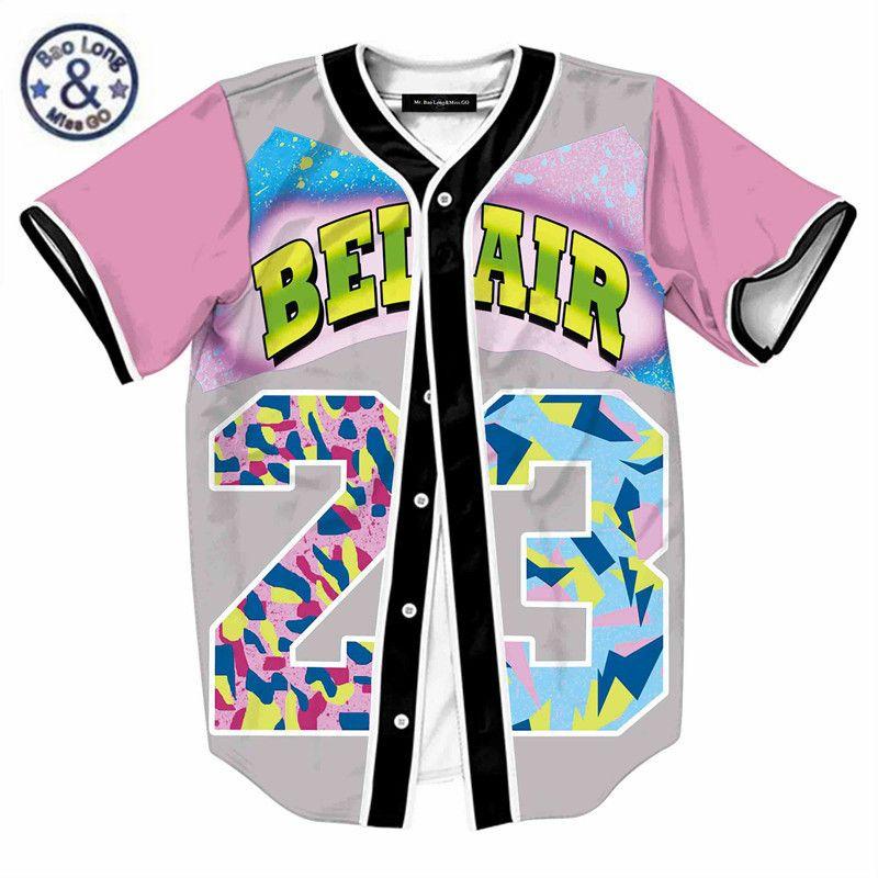 Hombre Single Breasted Shirt 3D Streetwear Hip Hop Summer T Shirt Bel Air 23 Fresh Prince Fresh Flow Flow Beet Baseball Jersey