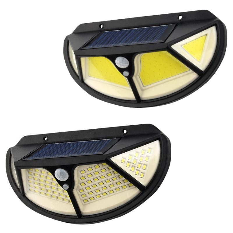 102 LED / 122 COB Solar LED-Licht Outdoor Motion Sensor Straßenleuchte Solarbetriebene Wandlicht Beleuchtung System Induktion Wandleuchte