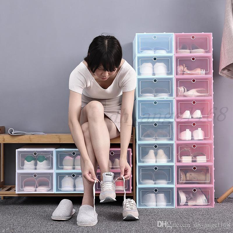 Engrossar Caixa de Sapato Plástico Limpar Caixa De Armazenamento De Sapata De Sapata Flip Transparente Sapato Candy Sapatos Empilháveis Caixas Organizador Frete Grátis