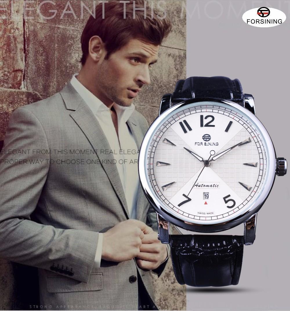 Forsing Men Fashion Business Классический дизайн Календарь для календаря белый циферблат Механические часы Мужчины Автоматические часы Лучшие бренд Роскошь