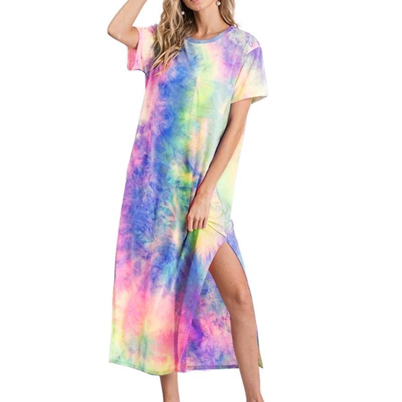 Yaz Yeni Kravat-Boya Baskı Rahat Elbise Kol Kadınlar Gökkuşağı Degrade Renkli Baskı Mini Kısa Elbiseler Büyük Boy S-XL