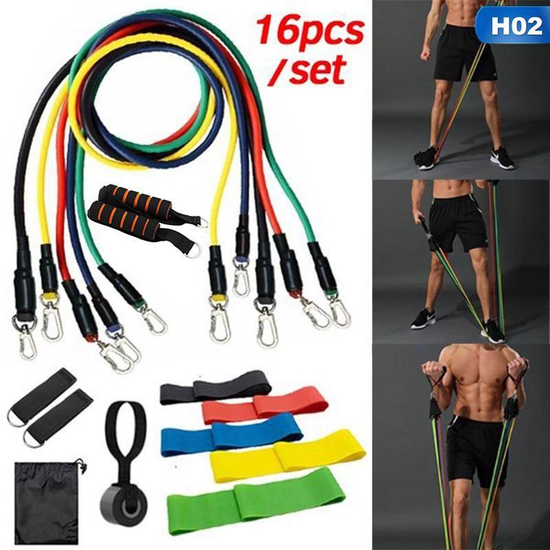 16pcs / Set Latex Resistanza Bands Yoga Pull Rope Expander Attrezzature per il fitness Attrezzature elastiche per esercizio di fitness Drop Shipping