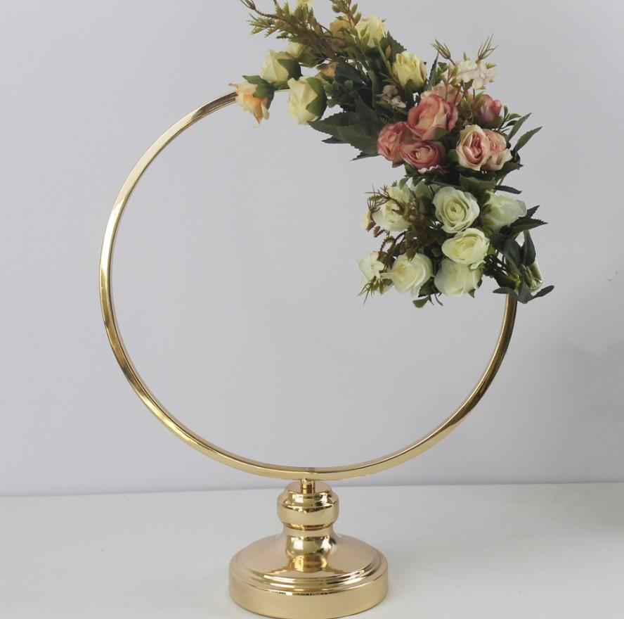 10PCS Round Ring Arch Wedding Table Centerpieces Metal Artificial Shelf Road Lead Floral Stand Backdrop Decoration