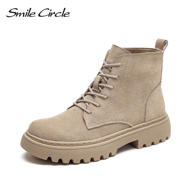 Lächeln Kreis Knöchelstiefel Wildleder Frauen Flache Plattform Kurze Stiefel Damen Schuhe Mode Herbst Winter Stiefel LJ201214