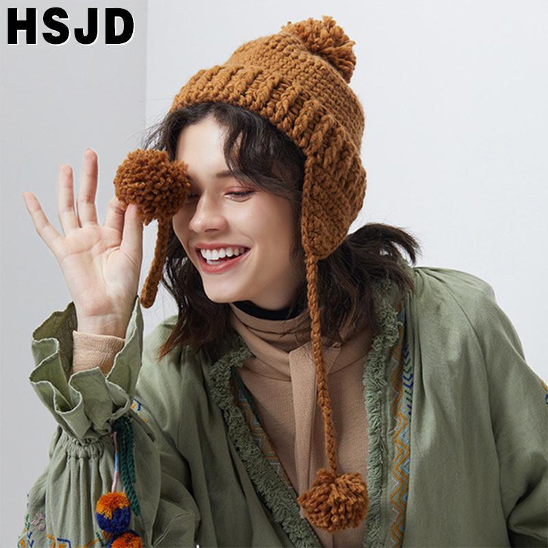 Kadınlar için Kış Katı Renk El Yapımı Tığ Beanie Şapka Üç Ponpon Kulak Sıcak kadın Örme Şapka Skullies Kasketleri Kapaklar