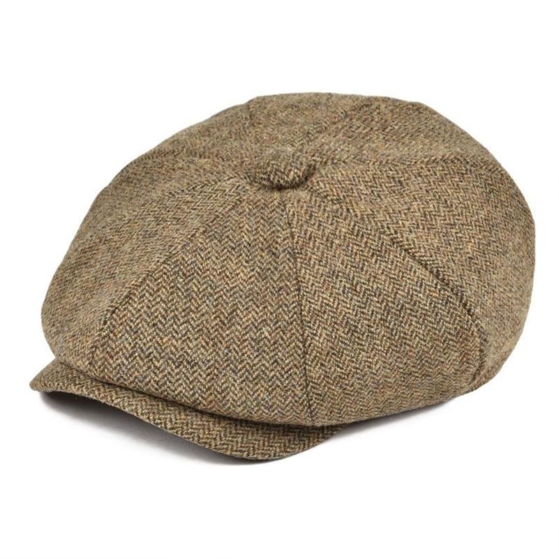 Botvela 100% Yün Tüvit Newsboy Cap Erkekler Herringbone Baker Çocuk Kapaklar Düz Şapka Gatsby Cabbies Boina Sarı Kahverengi Haki 029 201216