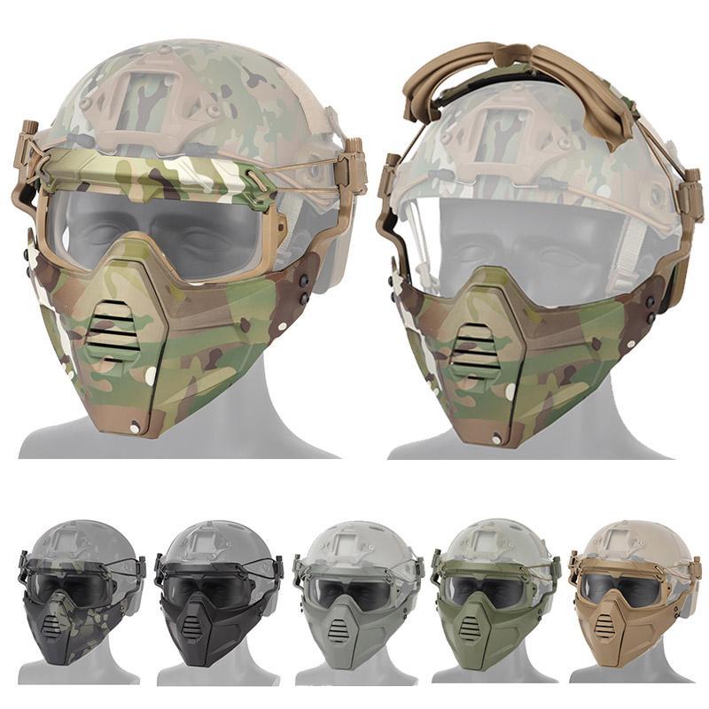 Paintball all'aperto Riparata di protezione del viso Gear Tactical Fast Helmet Casco Ala Tracolla Side Mount Mount Skull Mask with Goggles P03-314