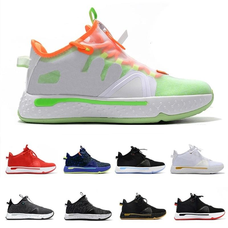 Bianco GX Paul George PG 4 IV PG 4 Gatorade Mens Scarpe da basket PCG PG4 Orange Oreo Plaid Trainers Uomo Sneakers sportivi 40-46