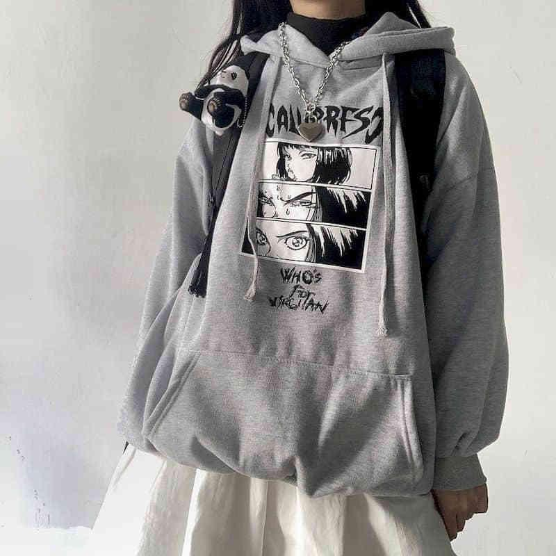Chica triste hombre Harajuku Anestética Anime Unisex Casual Sudaderas Streetwear Japonés Tops Hip Hop The Dark Dibujos animados Imprimir Sudadera Y1116