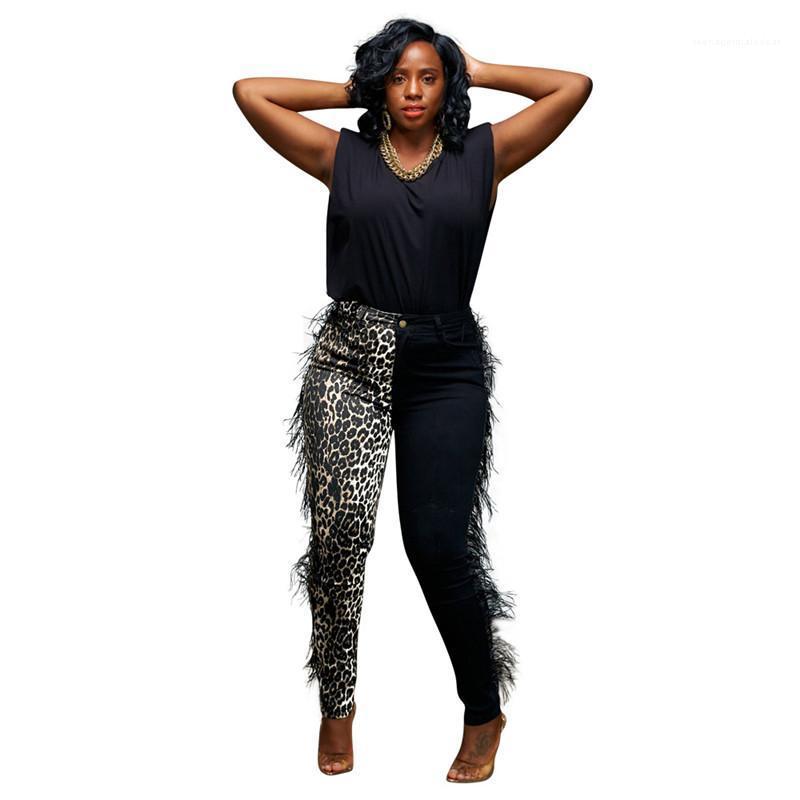 Vestuário quente Leopardo Casual Impresso Calças Das Mulheres Com Borla Designer Senhoras Capris Moda Moda Skinny Womens