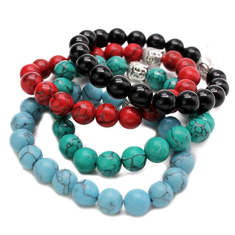 Preço de fábrica buddha moda 10mm homens tigre olho grânulos pulseiras oração chakra cura meditação turquesa natuarl pedra