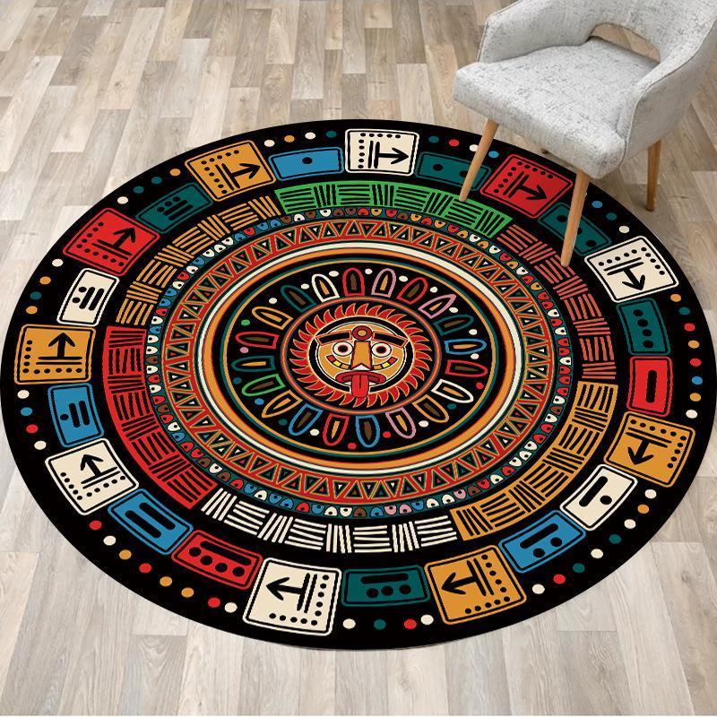 Renk Maya Ulusal Tarzı Oturma Odası Yatak Odası Asılı Sepet Sandalye Kaymaz Yuvarlak Kat Mat Halı Özelleştirme