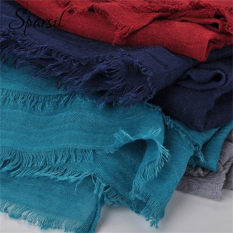 Спасибо женский летний мягкий тр хлопок шарфы ретро кисточек сплошной цвет 180x90 шали женские тонкие обертывания хиджаб пляж праздник шарф Y201007