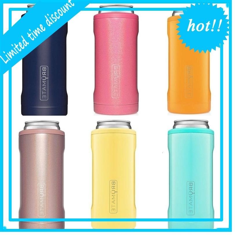 Refrigerador de taza con aislamiento de acero inoxidable de doble pared para 12 oz latas delgadas THERMOS CUP (Sirena de brillo)
