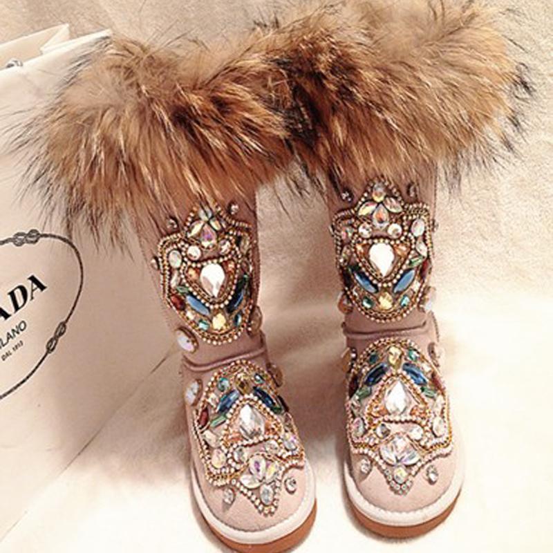 Kış Kar Botları Kadınlar Gerçek Kürk Rhinestone El Yapımı Sıcak Düz Ayak Bileği Çizmeler Hakiki Deri Rahat Rahat Ayakkabı Kadın 201023
