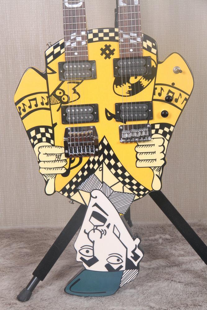 نادرة خدعة رخيصة ريك نيلسن العم ديك مزدوجة الرقبة الأصفر الغيتار الكهربائي 21 الحنق على كل رقبة، كروم الأجهزة، أبيض لؤلؤة البطانة