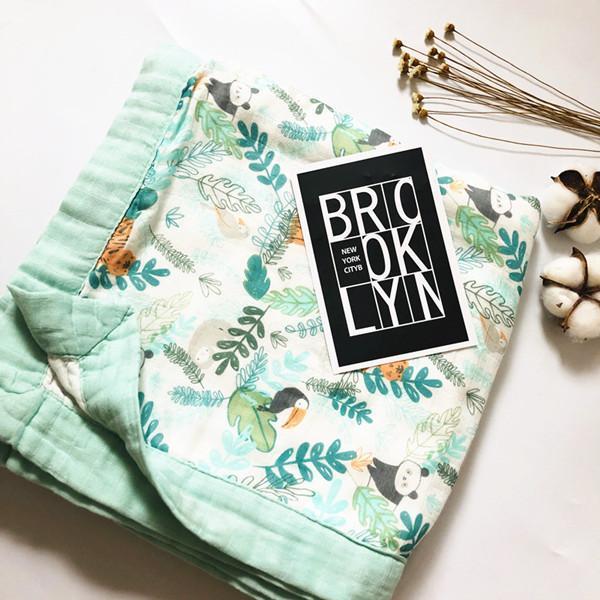 Colcha de animal Quatro camada Bambu Baby Muslin Cobertor Karitree Swaddle Melhor do que Anais Bebê / Bambu Blanket Infantil Wrap LJ201105