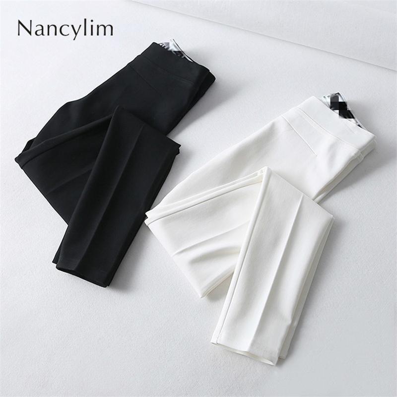 Plus Größe Stretchhosen für Frau Neue Schlank Temperament Legal Legins Hosen Büro Lady All Match Basic Hose Weiß Schwarz Y200418