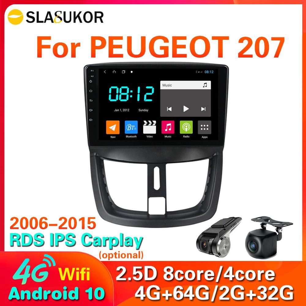 "9 ""4G LTE 64G ROM 2 DIN Android 10 para PEUGEOT 207 / 207CC 2007-2014 Multimedia Estéreo Carro DVD Player Navegação GPS Rádio WiFi"