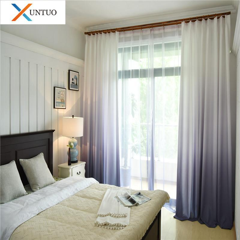 Gradient Color Curtains For Bedroom Living Room Modern Tulle Curtains And Blackout Treatment Blinds Voile Custom Made