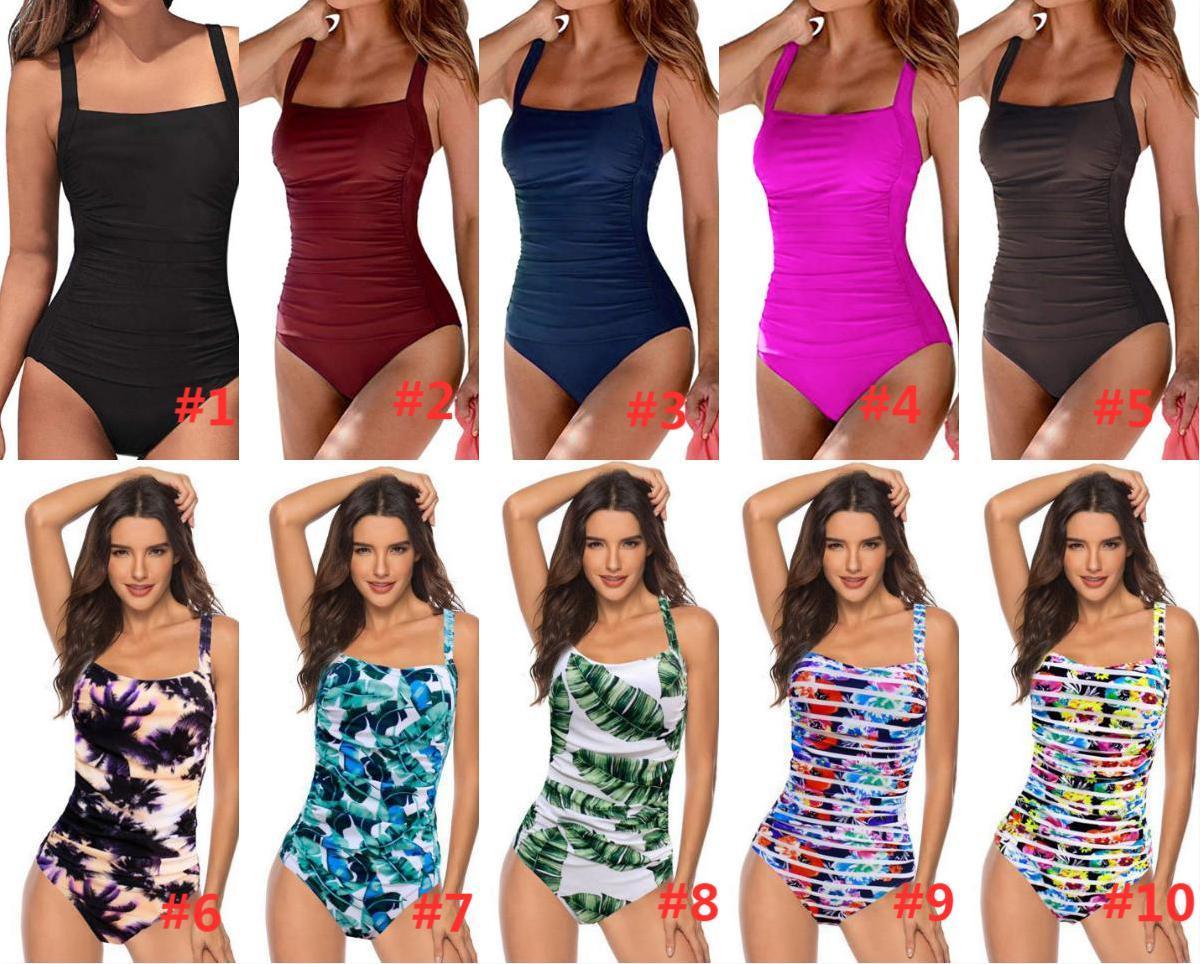 Vintage One Piece Swimsuit Women Swimwear Push Up Bathing Suit Ruched Tummy Control Monokini Retro Plus Size Beachwear
