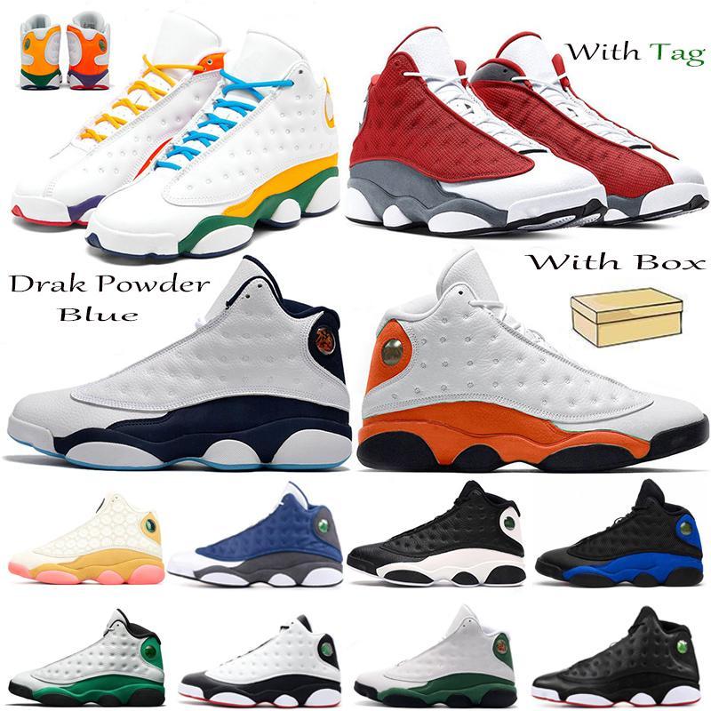 2021 Aurora Yeşil Oyun Alanı 13s Koyu Toz Mavi Jumpman 13 Erkekler Basketbol Ayakkabıları Bred Cap ve Kıyafet Flint Mahkemesi Mor Sneakers
