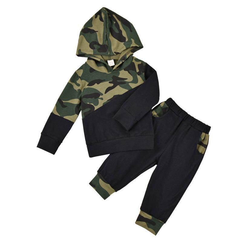 Recién nacido niño bebé camuflaje trajes de manga larga top con capucha pantalones ropa otoño 2pcs conjunto 0-24 meses