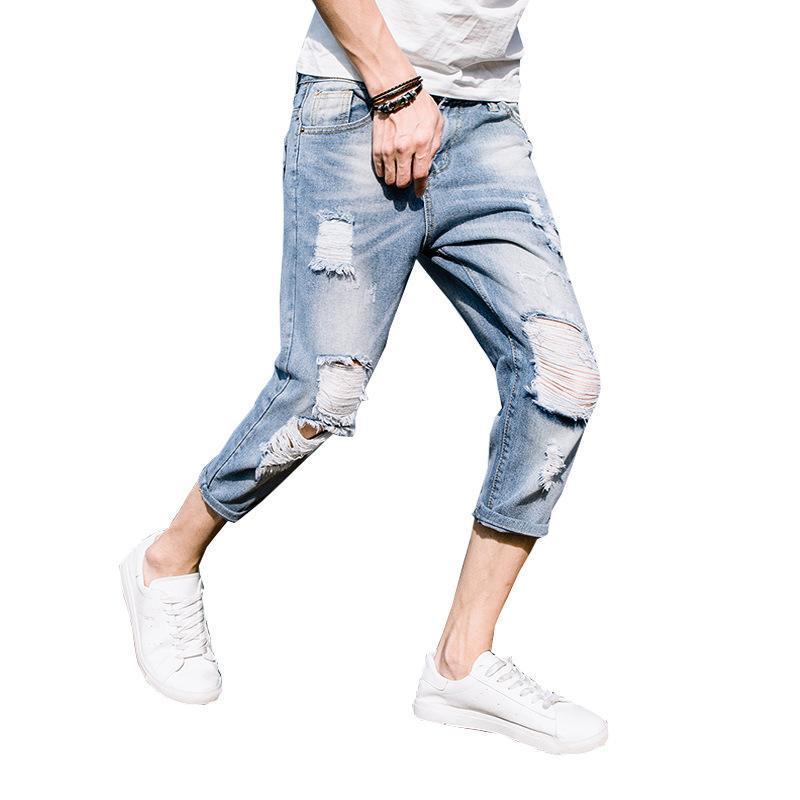 Jeans pour hommes mode 2021 adolescents coupés pantalon été mince mince coréen mendiant mendiant mendiant mendiant longueur pantalon shorts de denim hommes