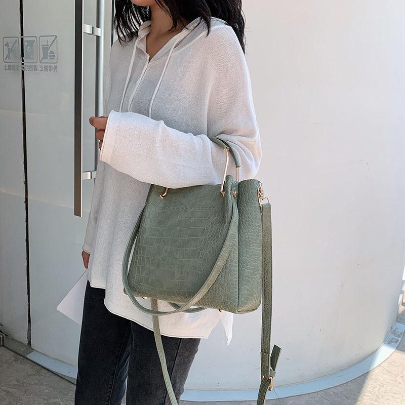 Krokodilmuster PU Hauptseite Eine Schulter Kleine blaue Luxus Handtasche Marke Sac Bag Ledertaschen Crossbody Damen Eimer Fluvw