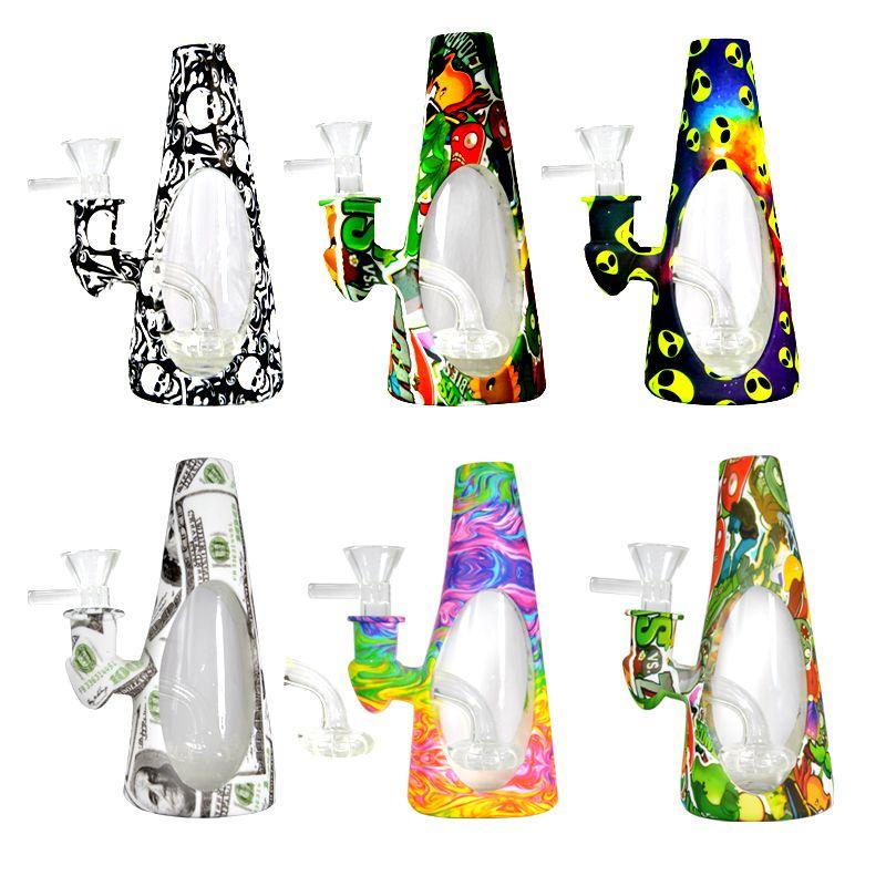 Tubos de 5,9 pulgadas Bong aceite Dab aparejo de cristal de silicona 14mm Mujer conjunta con el cuenco de agua SP240