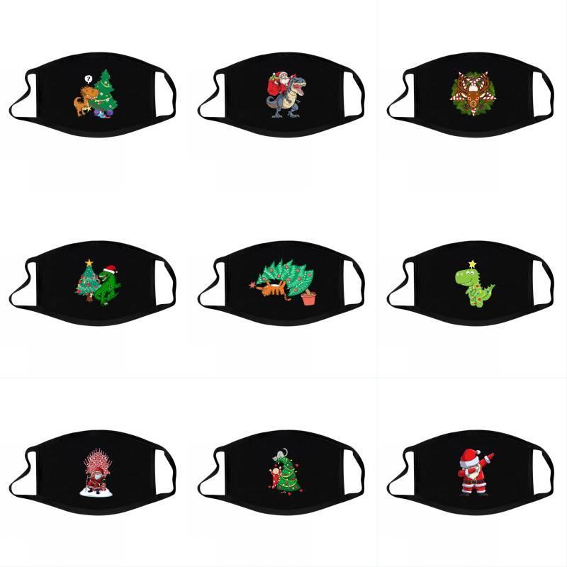 DHL Versand Weihnachtsmann Printed Maske Staubdichtes Breath Mund Abdeckung Wiederverwendbare Xmas Party nette Karikatur-Dinosaurier-Masken Maske Kimter-L880FA
