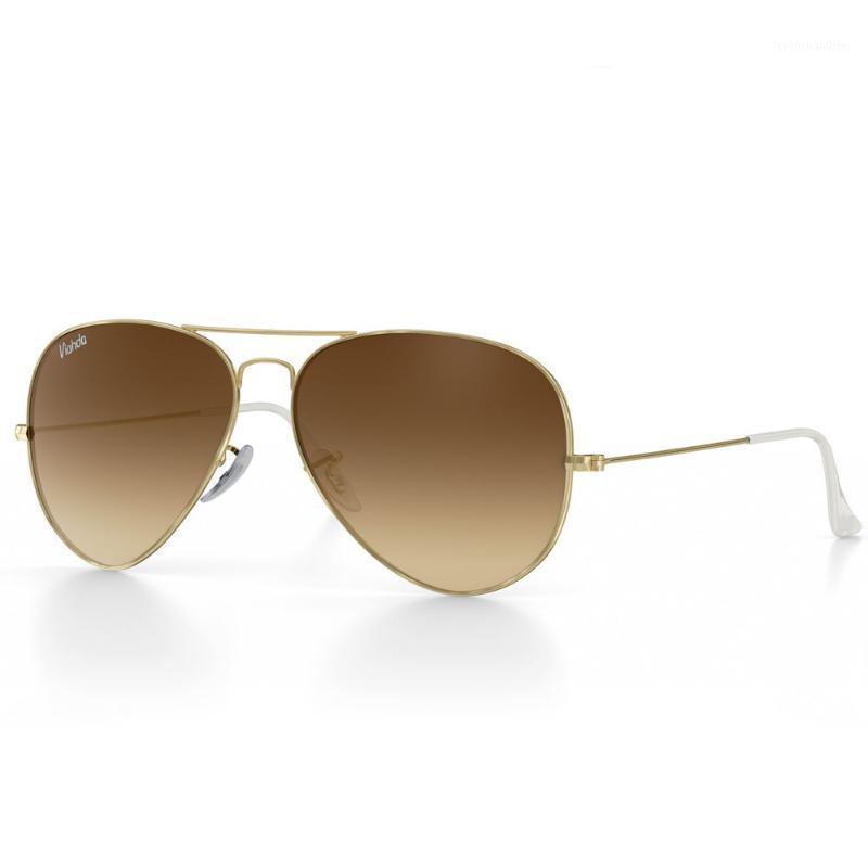 Lunettes de soleil pilote de la marque Viahda Femmes 2020 hommes Gradient Verre Lentille 58mm Sun Lunettes Vintage Hommes Femmes Marque Designer1
