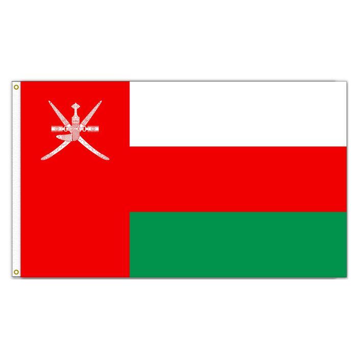 Bandiere dell'Oman Bandiere nazionali Paese 3'x5'ft 100d Poliestere Vendite calde di poliestere Alta qualità con due grassini in ottone