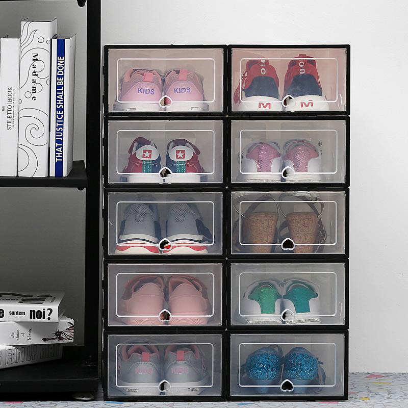 6 pz / lotto Scatole di scarpe da stoccaggio trasparenti Scatole di scarpe di stoccaggio Scarpe antipolvere addensate La scatola dell'organizzatore può essere sovrapposizione della scarpa combinata