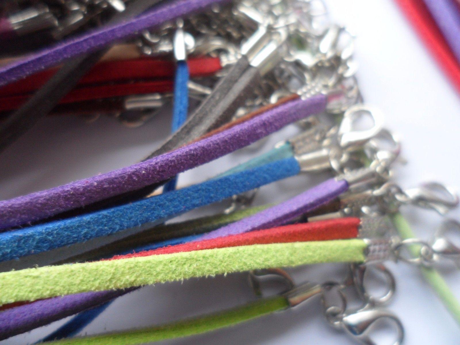 100pcs / lote 3mm Cable de gamuza mezcla color coreano cordón coreúrgulo collar cuerda cadena langosta cierre bricolaje joyería haciendo