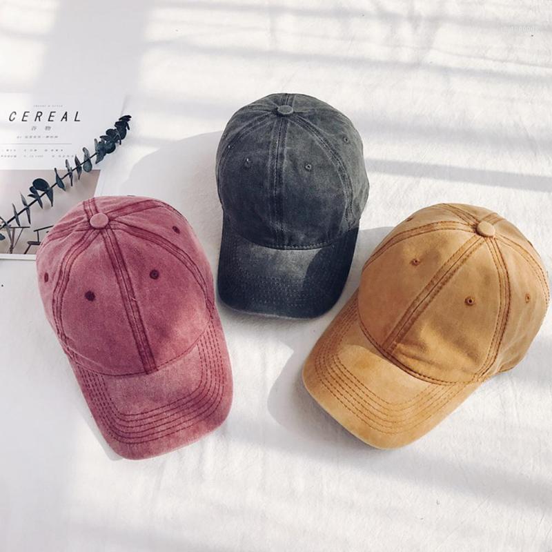 Casual Erkekler Pamuk Yıkama Katı Beyzbol Kap Vintage Kadın Beyzbol Şapka Kız Ayarlanabilir Snapback Kapaklar Şapka Drop Shipping1