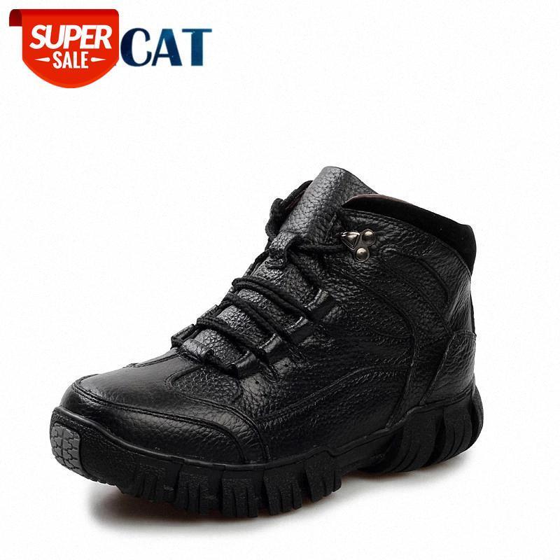Super chaud Hiver Hommes Bottes Bottes en cuir véritable Hommes Chaussures d'hiver Fourrure militaire pour chaussures Zapatos Hombre # OD2B