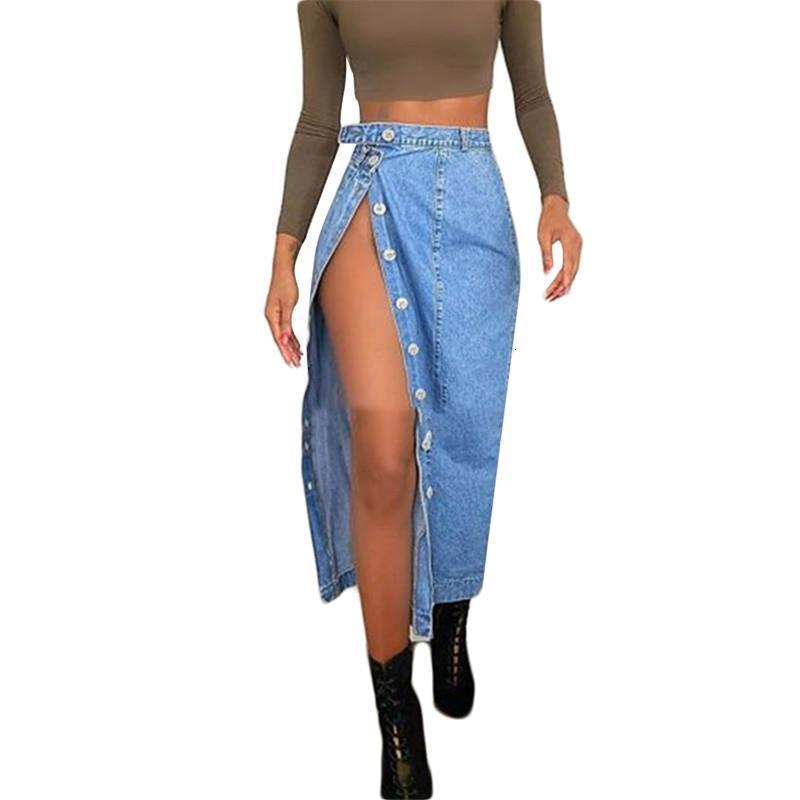 2020 Урожай женская кнопка повседневная джинсовая юбка с высокой Сплитской сексуальной тонкой бедра мешок прямой длинной юбки высокой талии улица