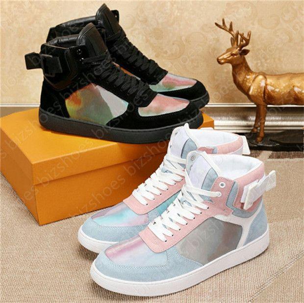 ريفولي هاي الأعلى حذاء يهرب المدربين جلدية أحذية جلدية زرقاء وأحمر ويب إمرأة رجل مصممين وقت خارج الأحذية عارضة