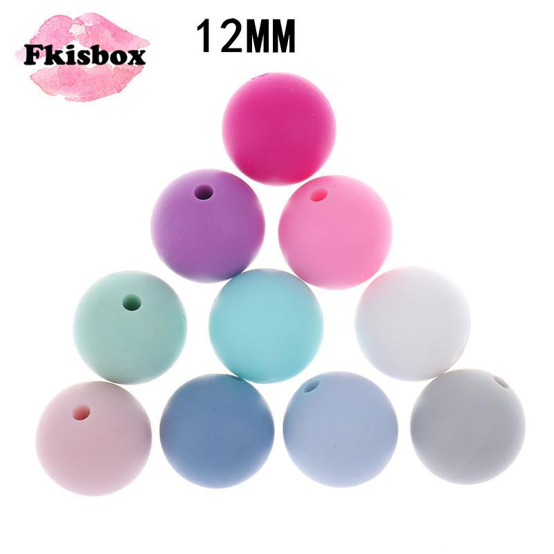 Fkisbox 100PC Silicone Baby Teether Bead Round 12mm Silicone Chewing Perles Loose Beads Silicon Teething Beads Bpa Free 201124