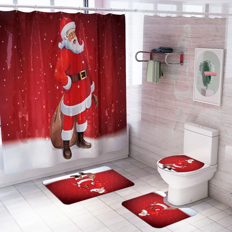 4 Pçs / Conjunto de cortinas de chuveiro + tapetes de banheiro não desinfetante tapete tapete tampa assento desenhos animados natal banho tapete pad pad home decor portáT1
