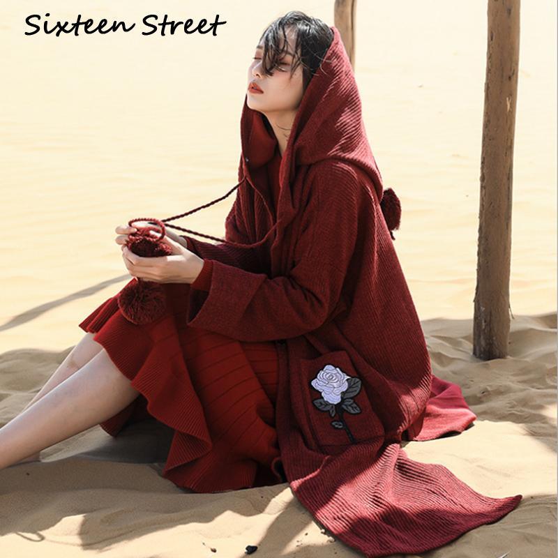 Onaltı Sokak Vintage Şarap Kırmızı Uzun Kazak Hırka Kadın Gül Nakış Cep Boho Kapşonlu Örgü Ceket Hırka Kadın Kış LJ201114