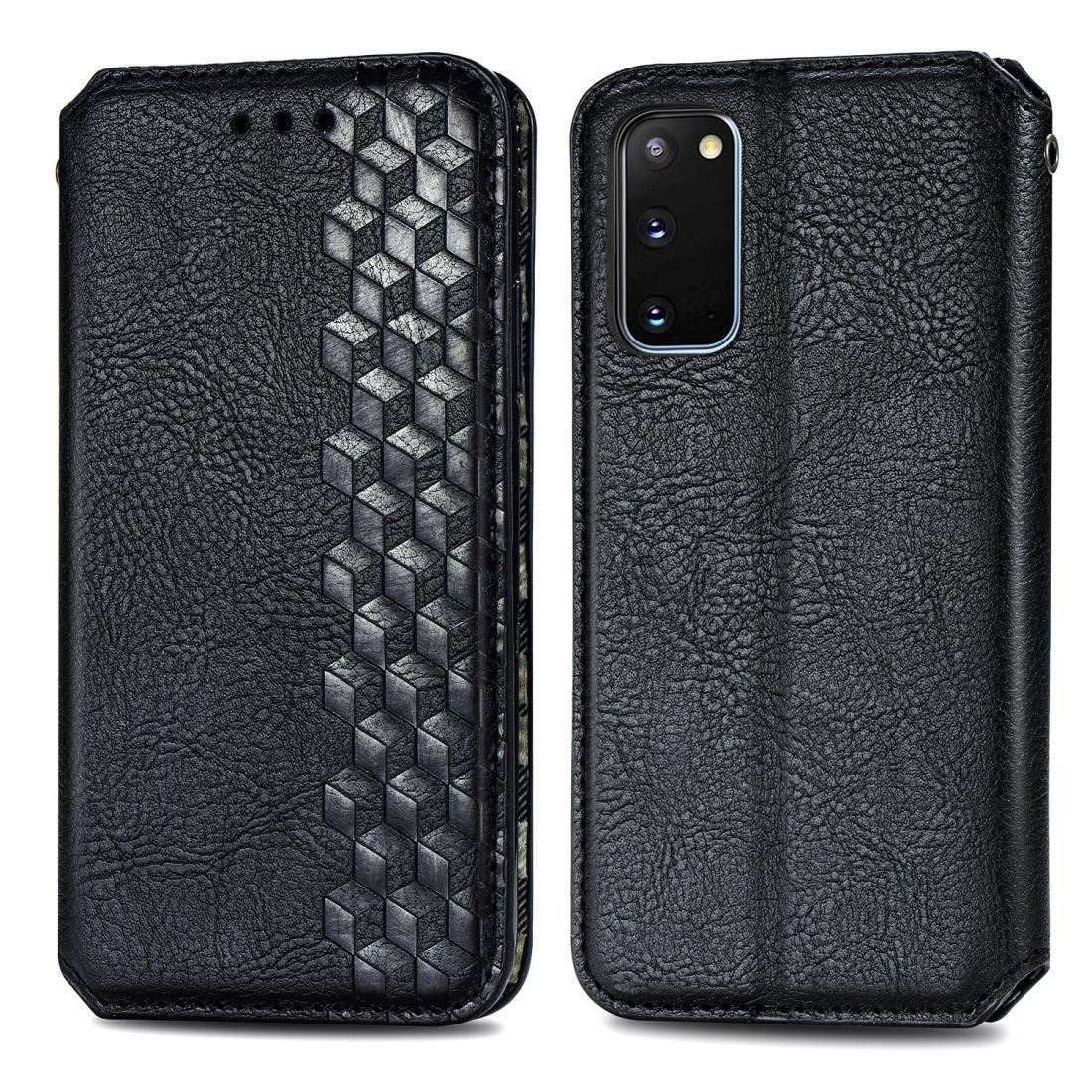 Para Samsung Galaxy S20 grade cúbica pressionada estojo de couro magnético de aleta horizontal com carteira de caça-níqueis