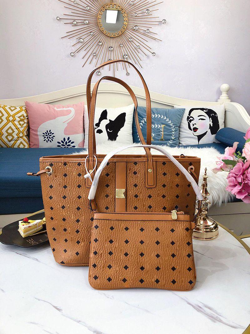 Rosa Sugao Frauen Luxurys Designer-Designer-Taschen doppelseitige Schulter Ledertasche 2 teile / set Die große Kapazität Lash-Tragetaschen Mode Handtasche clucth